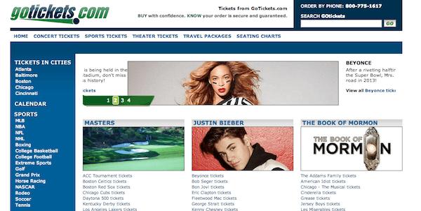 screenshot of GoTickets.com