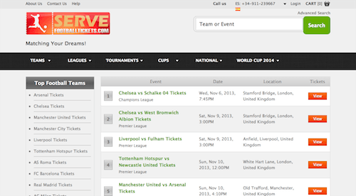 servefootballtickets.com screenshot