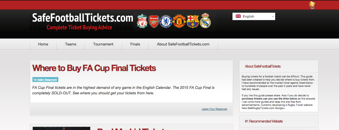 SafeFootballTickets.com Website