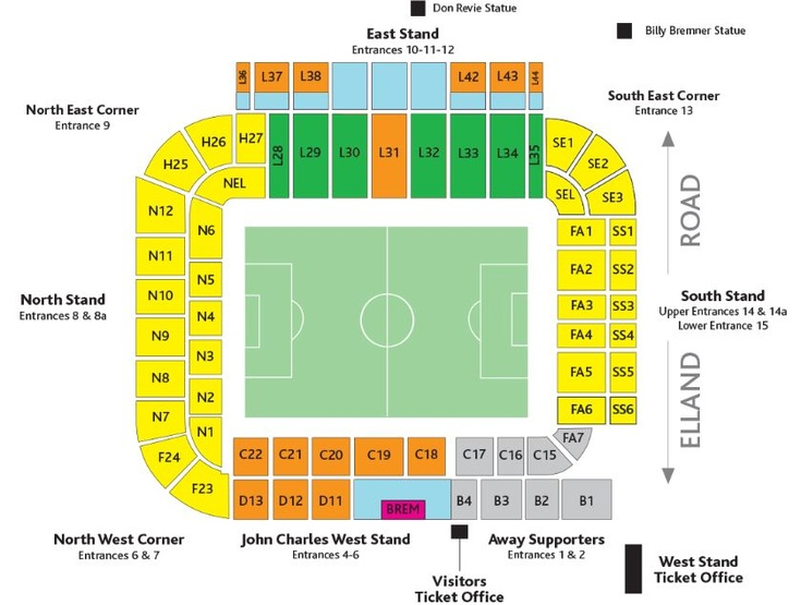 Elland Road Seating Map