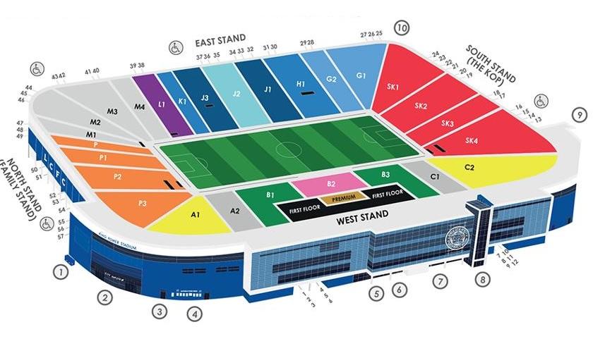 King Power Stadium Seating Map