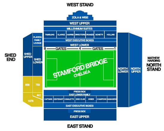 Stamford Bridge Seating Map